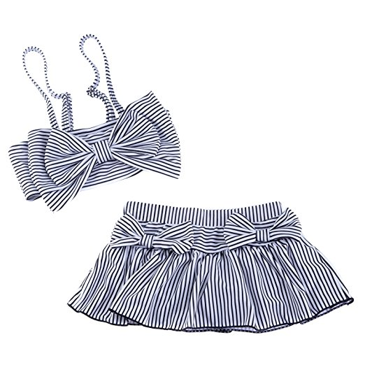Bala Bala Girls' Big Bowknot Stripe 2 Pieces Bikini Set