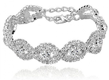 Long Way Women's Silver Gold Plated Crystal Bracelets