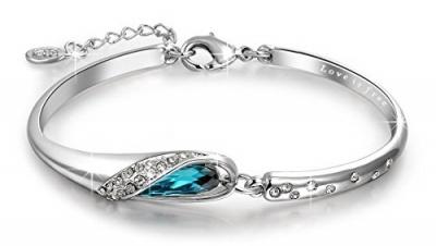 Qianse Glass Slipper Bracelet with Blue Swarovski Crystal