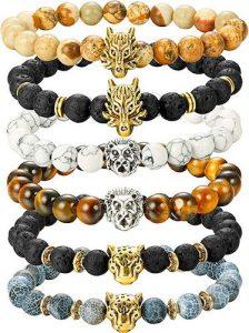 Finrezio 6PCS Mens Bead Bracelets