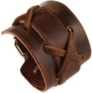 HZMAN Leather Casual Mens Brown Cuff Bangle Bracelet