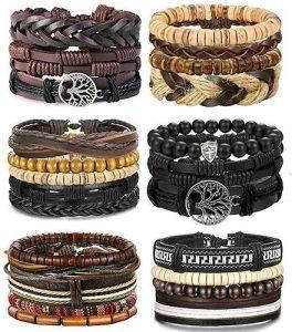 LOLIAS 4-24 Pcs Woven Leather Bracelet