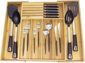 Misc Home Organisateur de cuisine extensible en bambou avec bloc à couteaux