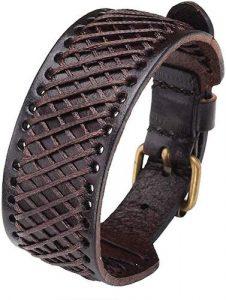 Zysta Genuine Leather Braided Wristband