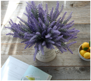 Lavender Plant with Silk Flowers