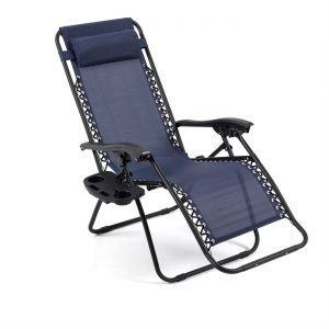 Belleze Navy Blue Lounge Patio Zero Gravity Chairs
