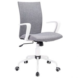 Computer Desk Chair Comfort White Swivel Fabric by DJ. Wang