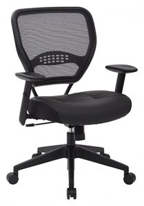 Professional AirGrid Dark Back and Padded Black Eco Leather Seat by Space Seating