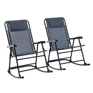 Outsunny Mesh Outdoor Patio Folding Rocking Chair