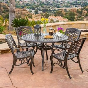 Hallandale 5 Piece Cast Aluminum Outdoor Dining Set.