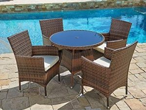 Suncrown Outdoor Furniture All-Weather Wicker Round Dining Table and Chairs