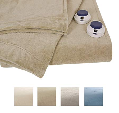 Serta Luxe Plush Electric Heated Micro-Fleece Blanket