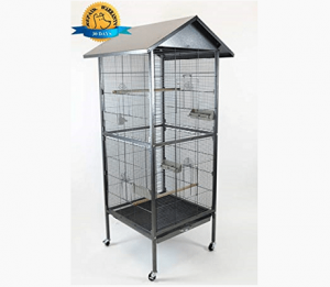 Homey Pet - 65 inch House Shape Bird Cockatoo Macaw Cage