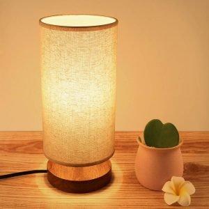 Seealle Bedside Table Lamp, Solid Wood Nightstand Lamp