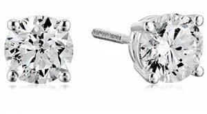 Amazon Collection Gold Diamond Stud Earrings