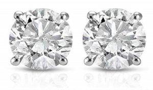 P3 POMPEII3 Round Cut 14K White Gold Diamond Studs Earring