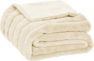 AmazonBasics Faux Fur Striped Throw Blanket