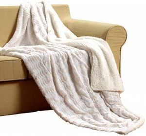 Tache White Ivory Super Soft Warm Polar Faux Fur with Sherpa Throw Blanket