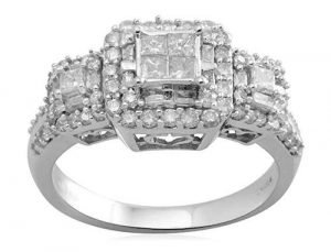 JEWELILI 10K White Gold Engagement Ring