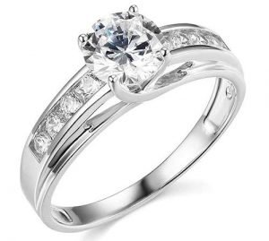 TWJC 14k Solid Wedding Engagement Ring