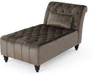 Rafaela Modern Glam Tufted Velvet Chaise Lounge