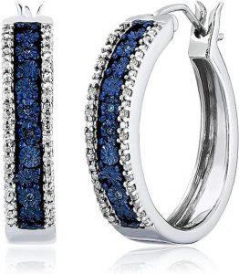 Jewelili Sterling Silver Blue and White Diamond Hoop Earrings