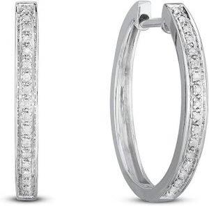 NATALIA DRAKE Sterling Silver Diamond Hoop Earrings