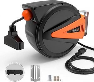 TACKLIFE Cord Reel with Retractable Extension Cord