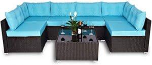 Amolife 7 Pieces Patio PE Rattan Sofa Chair Set