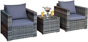 Tangkula 3 Pieces Patio Furniture Set