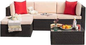 Tuoze 5 Pieces Patio Furniture Sectional Set Outdoor PE Rattan Wicker